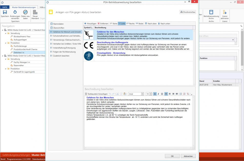 Muster-Betriebsanweisungen plus Betriebsanweisung bearbeiten