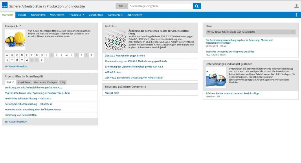 WEKA Business Portal Modulansicht_1