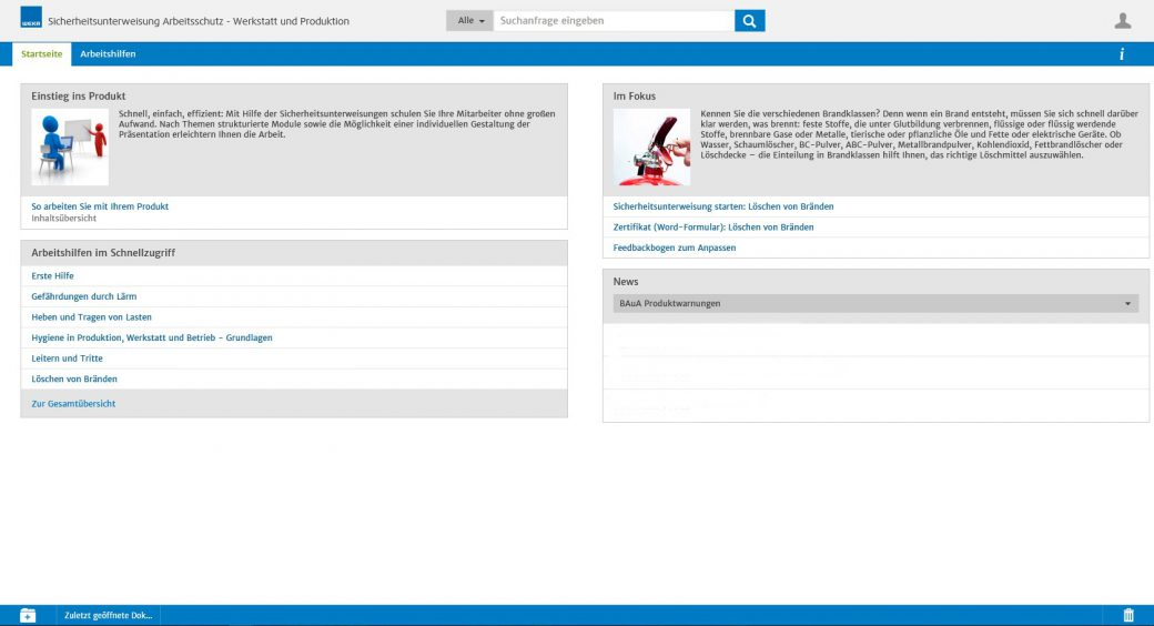 Screenshot WEKA Business Portal Startseite Modul
